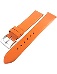 Orange Genuine Calf Leather Watch Strap With Nubuck Lining 14mm