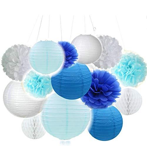 Erosion 14 Stück weiß blau Tissue hängenden Papier Pom-Poms, Blume Ball Hochzeit Party Outdoor-Dekoration Premium Tissue-Papier Pom Pom Blumen Craft Kit