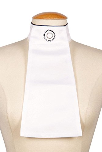 Harry\'s Horse Damen Plastron Circle weiß Klett feste Strass-Brosche NEUES DESIGN (navy)
