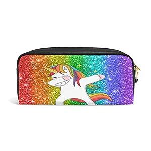 Linomo – Estuche de piel con cremallera y diseño de unicornio con arcoíris, para lápices, cosméticos, brochas y maquillaje, para viajes, oficina, escuela