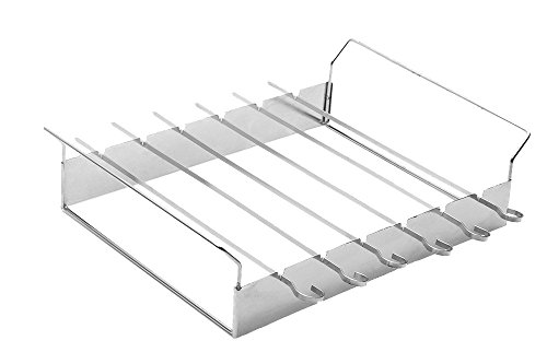 SHISH Kabob Grill Rack with 6x37 cm Skewers - Barbecue (BBQ) Stainless Steel Non-Stick Flat Wide Kabob Skewers - Food Won't Stick to Your BBQ Ever Again