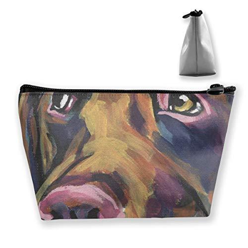 Schokoladen Labrador Retriever Pop Art 2 Tixing Trapez Reise Make-Up Tasche Kosmetiktaschen 7x12x22CM
