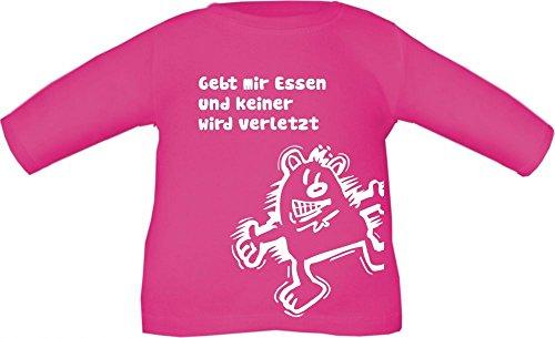 Baby / Kinder T-Shirt langarm mit Druck Gebt mir ESSEN und keiner wird verletzt / Größe 60 - 152 in 6 Farben Fuchsia