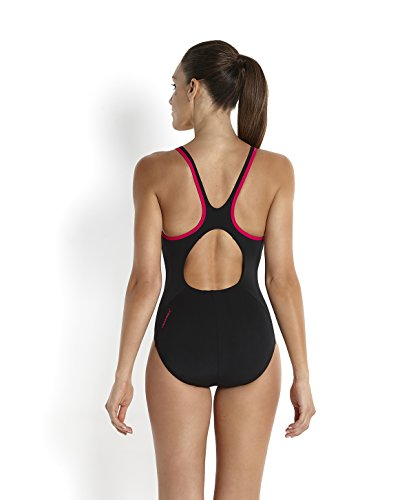 Speedo Damen Monogram Muscleback Badeanzug, , , Black/Magenta_8-08733359738