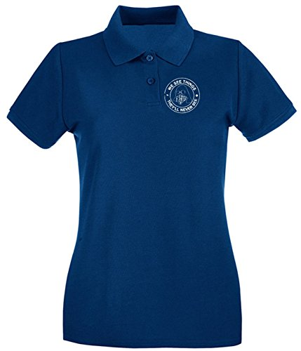 Cotton Island - Polo pour femme TUM0125 we see things hooligans Bleu Navy