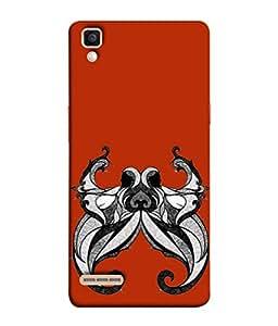 PrintVisa Designer Back Case Cover for Oppo F1 :: A35 (Zodiac Astrology Animal Horn Raashi Black&White)