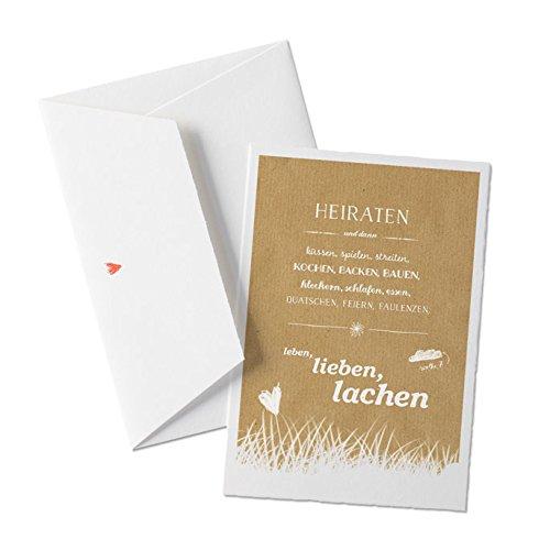 50x Hochzeitseinladungen-Set inkl. Druckservice - HEIRATEN, und dann... - BEIGE mit individueller Rückseite Hochzeitseinladung Einladungskarten-Set Büttenpapier bedruckt