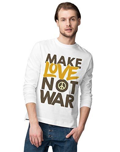 BLAK TEE Make Love Not War Peace Slogan Graffiti Herren Langarmshirt S