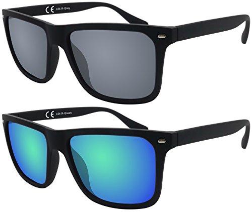 La Optica Original Verspiegelte UV400 Herren Sonnenbrille Eckig - Farben, Einzel-/Doppelpacks (Doppelpack Gummiert Schwarz (Gläser: 1 x Grau, 1 x Grün verspiegelt))
