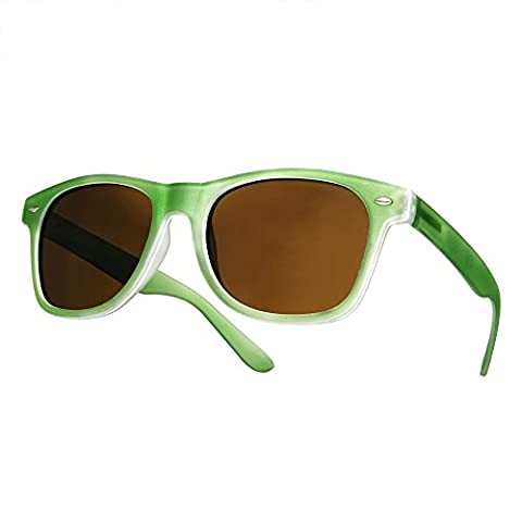 4sold (TM) New Two Tone Green & Black Classic Unisex (Mens, Womens) Geek Style retro 1980's Wayfarer Fashion Sunglasses with Smoked Lenses Offe (green)