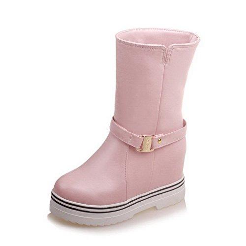 AgooLar Damen Weiches Material Rund Zehe Rein Niedrig-Spitze Mittler Absatz Stiefel, Pink, 37