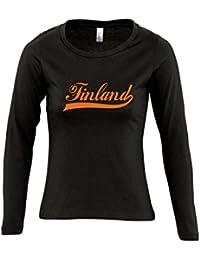 Finland Oldschool Finnland LÄNDERSHIRT EM / WM FAN Trikot - Damen Langarm Longsleeve T-Shirt S-XL