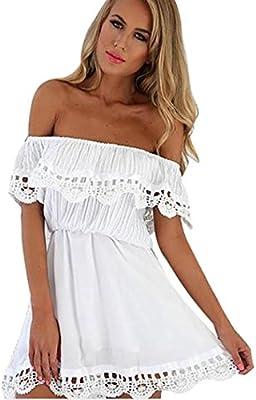 vestidos de mujer moda elegante suave encaje fuera del hombro delgado mini vestido