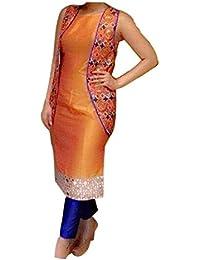 Ethnic Empire Women's Dress Material(EE-EA10708_Orange_Free Size)