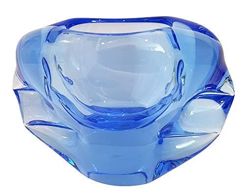 Cenicero moderna de cristal coloreado, adorno, cuenco, cenicero de vidrio coplado a boca en colour azúl transparente ancho aprox. 15 cm, disenado y fabricado por Oberstdorfer Glashütte