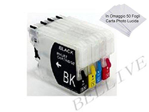 4 CARTUCCE RICARICABILI LC 980 LC 985 LC 1100 CON CHIP AUTORESETTANTI PER BROTHER DCP J715W / MFC 2