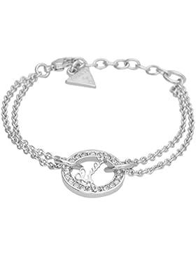 Guess Damen-Armband CITY OF ANGELES mit Anhänger Edelstahl Kristall weiß 19.5 cm-UBB21501-S