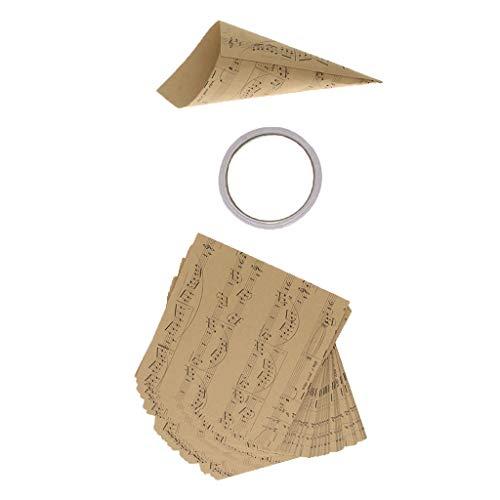 50x Vintage Geschenkpapier Packpapier Verpackungspapier Dekopapier für Haus Backenladen und Blumenladen - Hinweis Kegelpapier