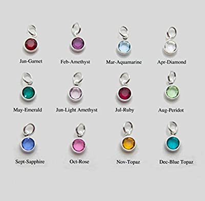 Little Freckle 12x Birthstone Crystal Silver Plated Channel charms 0.6cm