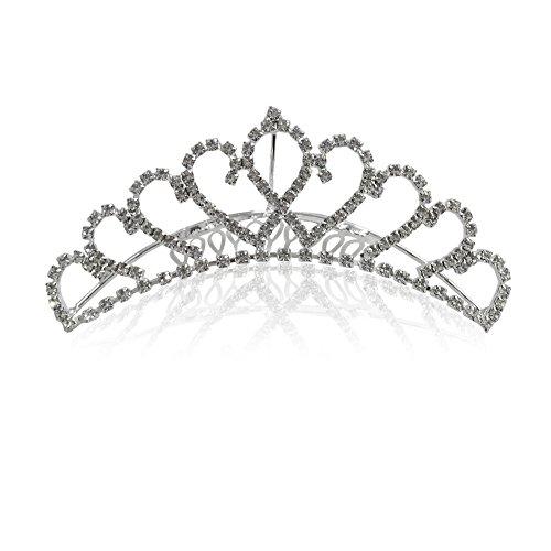 Katara 1738 - Silbernes Strass Diadem mit Kamm für Damen oder Mädchen für Hochzeit, Brautjungfern, Kommunion, Konfirmation