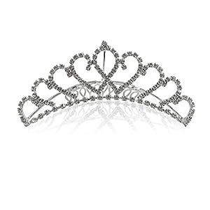 Katara-Tiara con Diamantes de Imitación de Plata para Novia o Dama de Honor, color corona con peine modelo #3, (1738)