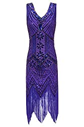 Metme Women's 1920s V Neck Beaded Fringed Gatsby Theme Flapper Dress For Prom
