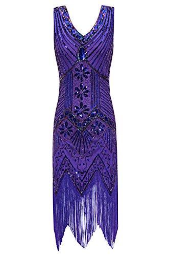 Annee 1920 Kostüm - Metme Damen der 1920er Jahre V Ausschnitt Perlen Fransen Gatsby Thema Flapper Kleid für Abschlussball