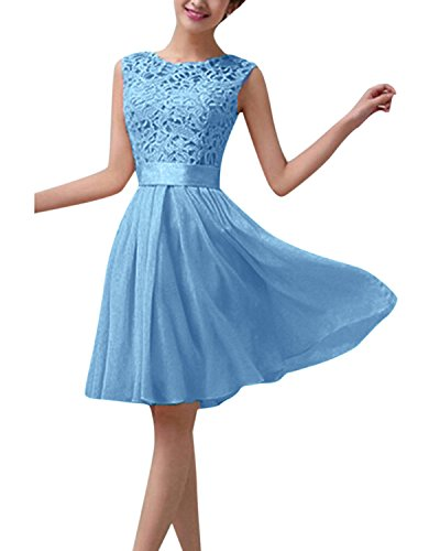 ZANZEA Damen Spitze Ärmellos Party Club Kurz Slim Abend Brautkleid Cocktail Ballkleid Blau EU 38/US 6
