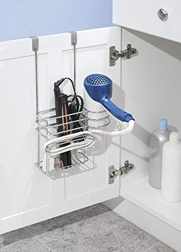 mDesign - Porta herramientas para el cuidado del cabello, para colgar sobre perfil de puerta; para el secador de cabello, la planchita, el rizador, el alisador - Cromado