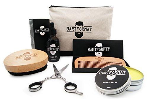 Hochwertiges Bartpflege Set 6-teilig von BARTFORMAT - Bartöl + Balsam + Bartschere + Bartbürste + Bartkamm + Kulturbeutel - Das Beauty Geschenk Set für den Mann