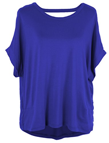 Emma & Giovanni - Tshirt/Blusa con Espalda Abierta + Arco - Mujer (Azul, XL/XXL)