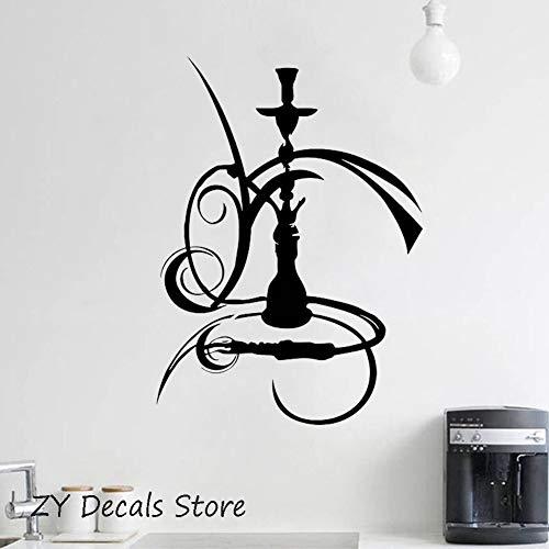 Vinyl Wandaufkleber Shisha Wasserpfeife Rauchen Rauch Arabisch Bar Unkraut Vinyl Aufkleber Küche Wasserdichte Raumdekoration Aufkleber Wandbild 42X60CM (Unkraut-shisha)