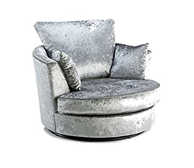 Large Swivel Round Cuddle Chair Fabric Crushed Velvet Designer Scatter Cushions by Meble Roberto SP ZOO