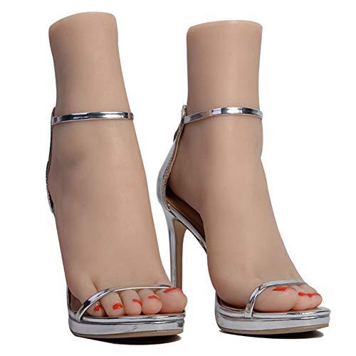 YZZ Silikon-Fuß-Modell - 1 Paar Life Size Weibliches Mannequin mit Knochen - für Display Schmuck-Sandale Schuhsocken-Anzeige Art Skizze mit Nagel,Fullgel