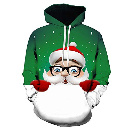 MIRRAY Herren Weihnachts Kapuzenpullover Pullover 3D Großer Weihnachtsmann Gedruckt Langarmshirt Langarm Kapuzenpulli Tops Bluse
