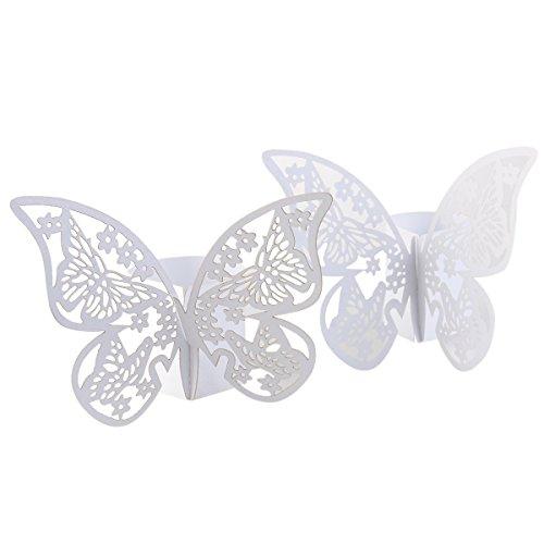 Pixnor 50 Stück Butterfly Stil Laser Cut Papier Serviette Ring Party Hochzeit Gefälligkeiten Home Tischdekoration (weiß) (Home Tischdekoration)