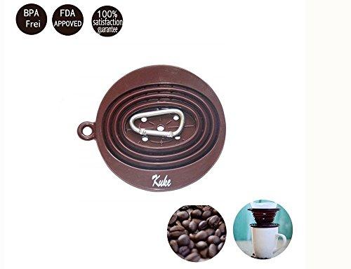 Kuke Kaffeefilter mit Karabine, Wiederverwendbare Faltbar Tragbar Kaffeefilterhalter aus Silkon...