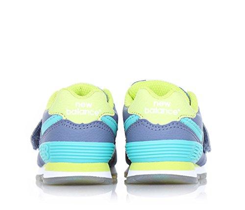 NEW BALANCE - Grau-gelber Sportschuh mit Schnürsenkel, aus Leder und Stoff, seitlich und hinten ein hellblaues Logo, sichtbare Nähte und Gummisohle, Jungen Grigio/verde