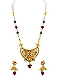 Asmitta Fine Red & Green Kundan Gold Plated Matinee Style Necklace Set For Women