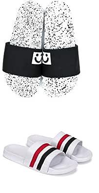 BEONZA Men Combo Pack of 2 Pairs of White Sliders/Flip Flops/Slippers