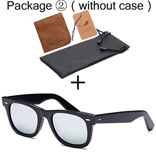 Yangjing-hl Glaslinse Retro Sonnenbrille Männer Acetat Sonnenbrille 2140 Luxusmarke Rivet Design Brille Elegante weibliche quadratische Oculos