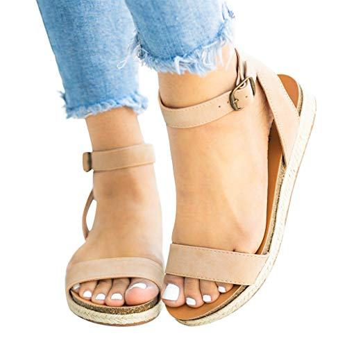 Sandalias para Mujer Correa de Mujer Hebilla de Tobillo Cuñas Planas Sandalias Tejidas Zapatos Romanos Sandalias Mujer Verano 2019 Sandalias Antideslizantes de Madera con Flip Flop niña