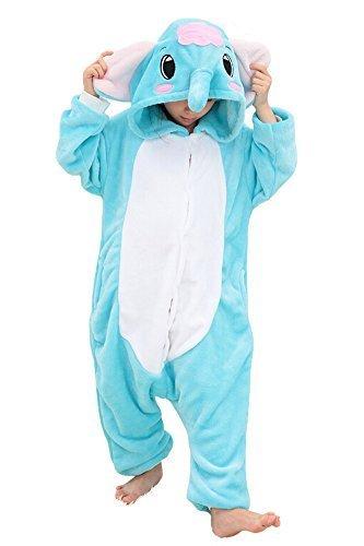 JT-Amigo Kinder Pyjama Strampler Schlafanzug Tier Kostüm für Halloween Karneval Fasching, Elefant Kostüm, Gr. 104/110 (Herstellergröße 95/110)