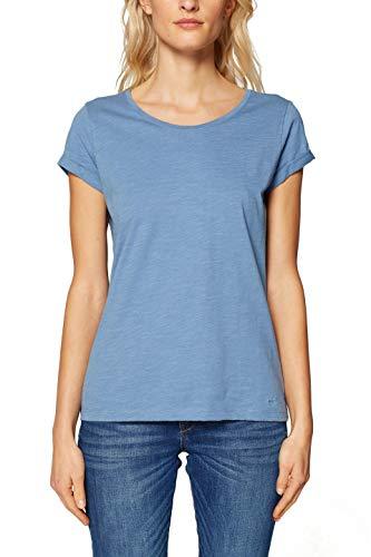 edc by ESPRIT Damen 999CC1K802 T-Shirt Blau (Grey Blue 4 423) Small (Herstellergröße: S)