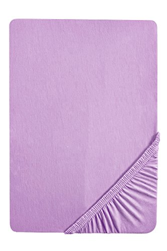#3 biberna Jersey-Stretch Kinder Spannbettlaken, Spannbetttuch, Bettlaken, 60x120 – 70x140 cm, Viola