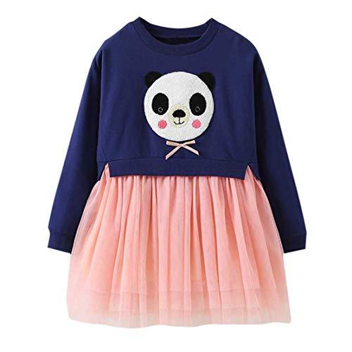 (Happy Event Kleinkind Kinder Baby Mädchen Cartoon Panda Princess Lace Dress Kleidung anziehen (Marine, 3-4 Jahre-120))