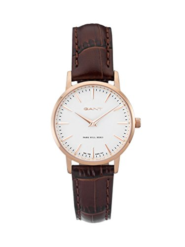 Gant Park Hill 32 Men's Quartz Watch with White Dial Analogue Display and Brown Leather Strap W11402