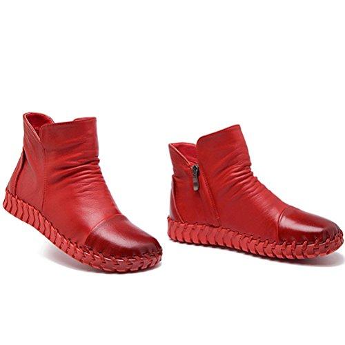 MatchLife Femme Vintage Laçage cuir Hiver Bottines Style1-Rouge