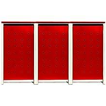 BBT@ | Hochwertige Mülltonnenbox für 3 Tonnen je 240 Liter mit Klappdeckel in Rot / Aus stabilem pulver-beschichtetem Metall / Stanzung 4 / In verschiedenen Farben sowie mit unterschiedlichen Blech-Stanzungen erhältlich / Mülltonnenverkleidung Müllboxen Müllcontainer