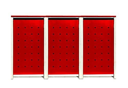 BBT@ | Hochwertige Mülltonnenbox für 3 Tonnen je 240 Liter mit Klappdeckel in Rot / Aus stabilem pulver-beschichtetem Metall / Ohne Stanzung / In verschiedenen Farben sowie mit unterschiedlichen Blech-Stanzungen erhältlich / Mülltonnenverkleidung Müllboxen Müllcontainer